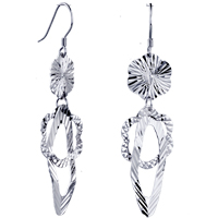 Flower Pattern Earrings 925 Sterling Silver Dangle