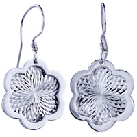 New Flower Pattern Dangle Fish Hook Earrings Floral Silver Tone