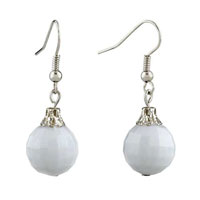 White Ball Edges Corners Earrings For Women
