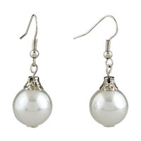 White Ball Resin Earrings For Women