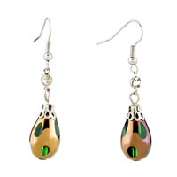 Fashion Green Dangle Pattern Resin Silver P Earrings For Women Gift