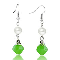 Resin Pale Green White Shell Pearl Fish Hook Earrings For Women