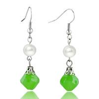 Resin Pale Green White Shell Pearl Fish Hook Earrings For Women
