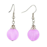 Classic Resin Pale Pink Ball Silver Plated Hook Earrings For Women