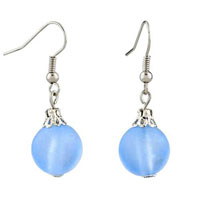 Resin Baby Blue Ball Dangle Silver Plated Hook Earrings For Women