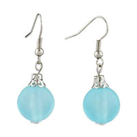 Pugsterpale Blue Ball Dangle Silver Plated Hook Fancy Earrings For Women