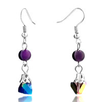 Purple Ball Charm Murano Glass Hook Earrings Dangle For Women Gift