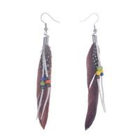 Fluttering Brown Feather Dangle Tassel Beads Earrings