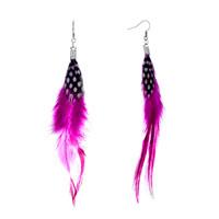Fine Rose Trendy Feather Dangle Black With White Dots Earrings