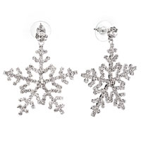Pugster Beautiful April Birthstone Crystal Snowflake Dangle Earrings