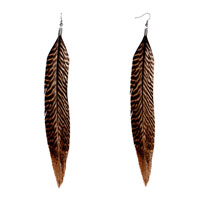 Brown Feather Drape Earrings Bohemian Earrings For Women