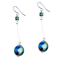 Green Blue And Yellow Colorful Ball Dangle Earrings