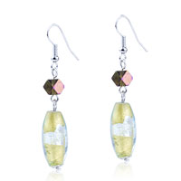 Oval Shape Murano Glass Dangle Hook Earrings Jewelry For Women Gift