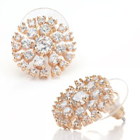 Clear Crystal Snowflake Floral Stud Jewelry 14 K Gold Plated Earrings