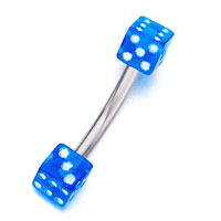 Stainless Steel Curved Barbell With Dodger Blue Dice Eyebrow Navel Rings