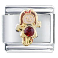 January Garnet Color Girl Child Baby Birthstone Italian Charm