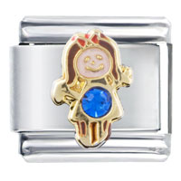 September Sapphire Color Girl Child Baby Birthstone Italian Charm