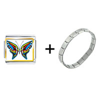 Items from KS - exotic blue yellow &  red butterfly combination Image.