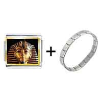 Items from KS - gold plated egyptian mummy tutankhamen photo italian charm combination Image.
