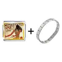 Items from KS - gold plated egyptian god khepri photo italian charm combination Image.