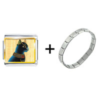 Items from KS - gold plated egyptian bastet cat photo italian charm combination Image.