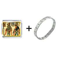 Items from KS - gold plated egyptian horus and nefertiti photo italian charm combination Image.