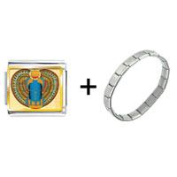Items from KS - gold plated egyptian khepri photo italian charm combination Image.
