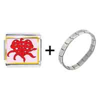 Items from KS - gold plated valentine' s day heart knot photo italian charms bracelets combination Image.