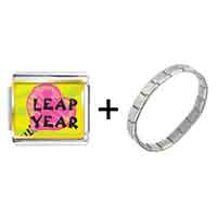 Items from KS - gold plated leap year pink heart photo italian charms bracelets combination Image.