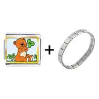 Items from KS - gold plated st.  patrick' s day theme photo italian charm with shamrock and a cute bear combination Image.