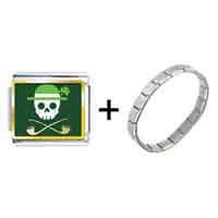 Items from KS - gold plated st.  patrick' s day theme photo italian charm with a skeleton combination Image.