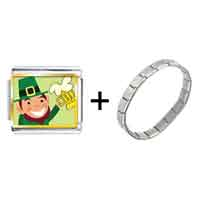 Items from KS - gold plated st.  patrick' s day theme photo italian charm with leprechaun with beer combination Image.
