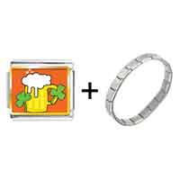 Items from KS - gold plated st.  patrick' s day theme photo italian charm with shamrock and beer combination Image.