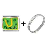 Items from KS - gold plated st.  patrick' s day theme luck photo italian charm with shamrock combination Image.