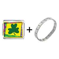 Items from KS - gold plated st.  patrick' s day theme photo italian charm with shamrock combination Image.