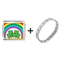 Items from KS - gold plated st.  patrick' s day theme photo italian charm with shamrock and rainbow combination Image.