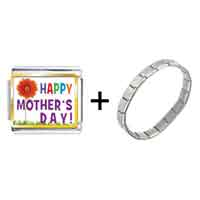 Items from KS - gold plated happy mother' s day theme photo italian charm combination Image.