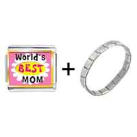 Items from KS - gold plated mother' s day theme photo italian charm world' s best mom bracelet Image.