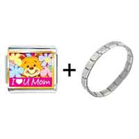 Items from KS - gold plated cartoon theme photo italian charm i love you mom bracelet Image.
