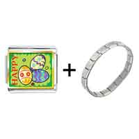 Items from KS - gold plated cartoon theme photo italian charm,  happy easter charm bracelet Image.