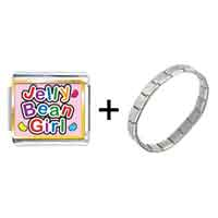 Items from KS - gold plated cartoon theme photo italian charm,  jelly bean girl easter charm bracelet Image.
