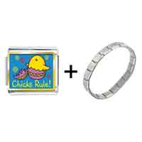 Items from KS - gold plated cartoon theme photo italian charm chicks rule easter bracelet Image.