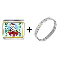 Items from KS - gold plated cartoon theme photo italian charm daddy' s chick easter bracelet Image.