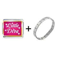 Items from KS - gold plated cartoon theme photo italian charm little diva easter bracelet Image.