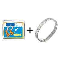 Items from KS - gold plated animal swimming fish photo italian charm bracelets Image.