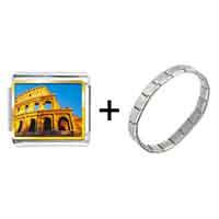 Items from KS - gold plated landmark colosseum photo italian charm bracelets Image.