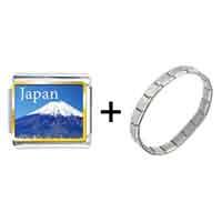 Items from KS - gold plated travel mt fuji photo italian charm bracelets Image.