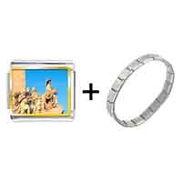 Items from KS - gold plated travel monument to the discoveries photo italian charm bracelets Image.