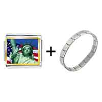 Items from KS - gold plated travel statue of liberty photo italian charm bracelets Image.