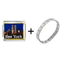 Items from KS - gold plated travel new york city photo italian charm bracelets Image.